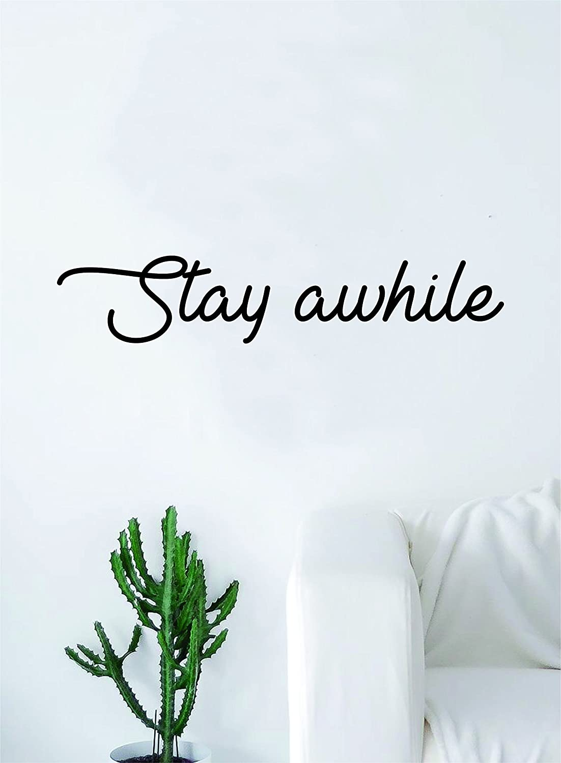 Amazon Com Stay Awhile Quote Decal Sticker Wall Vinyl Art Home Decor Inspirational Beautiful Family Home Kitchen