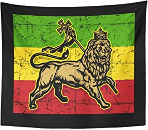 Emvency Tapestry Green Rasta Lion of Judah Red Reggae Jamaica Home Decor Wall Hanging for Living Room Bedroom Dorm 50x60 Inches