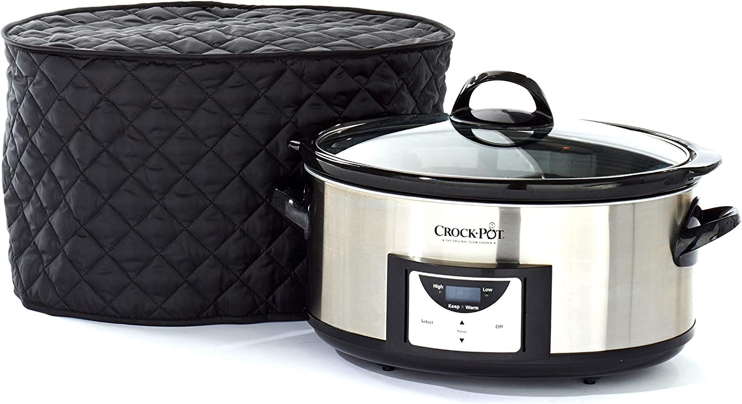 Covermates Slow Cooker Cover 17W x 12D x 17H Diamond Collection 2 YR Warranty Year Around Protection – Black