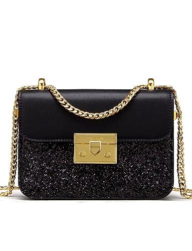 54ca0114e5dd LA FESTIN Ladies  Glitter Shoulder Chain Purse Small Black Leather Side Bag  for Girls
