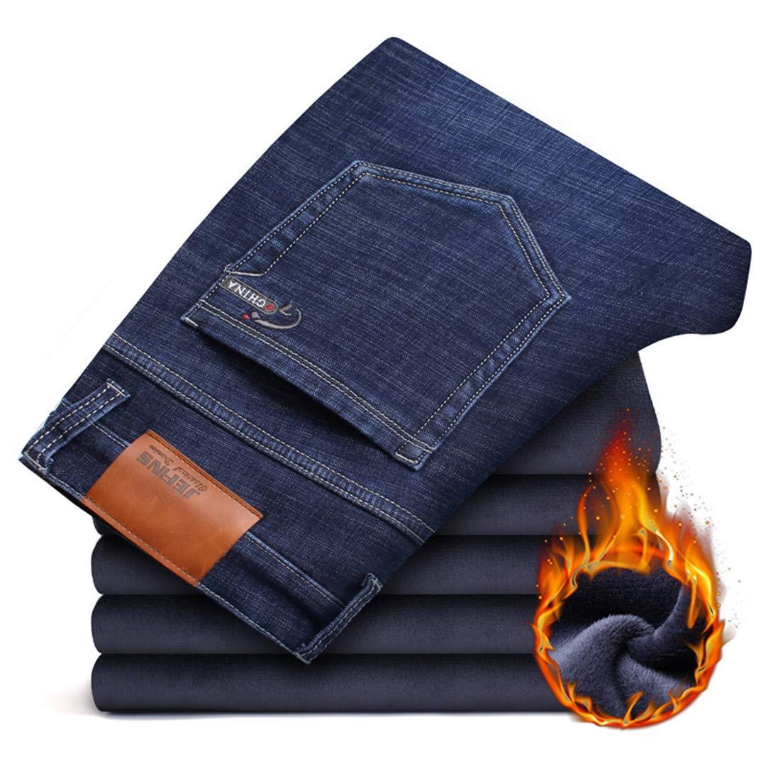 Mens Jeans Thick Stretch Denim Jeans Straight Fit Trousers Male Cotton Pants Men Large Size