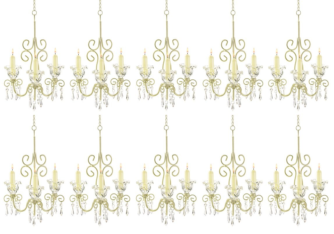 Wholesale lot of 10 Shabby Crystal Scroll Chandelier Candle Holder, Chic [Misc.]