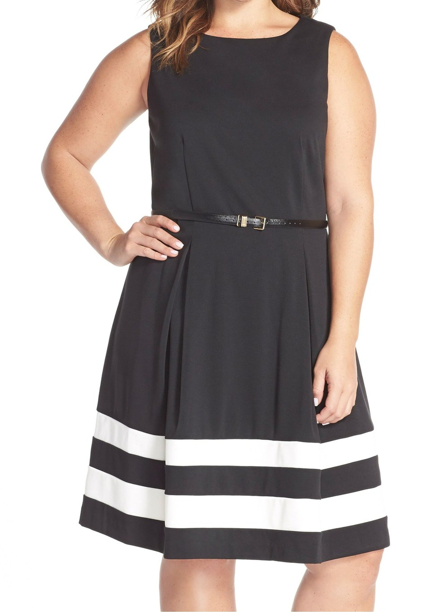 Calvin Klein Women's Plus-Size Sleeveless Belted Stripe Fit and Flare Dress, Black/Ivory, 14W