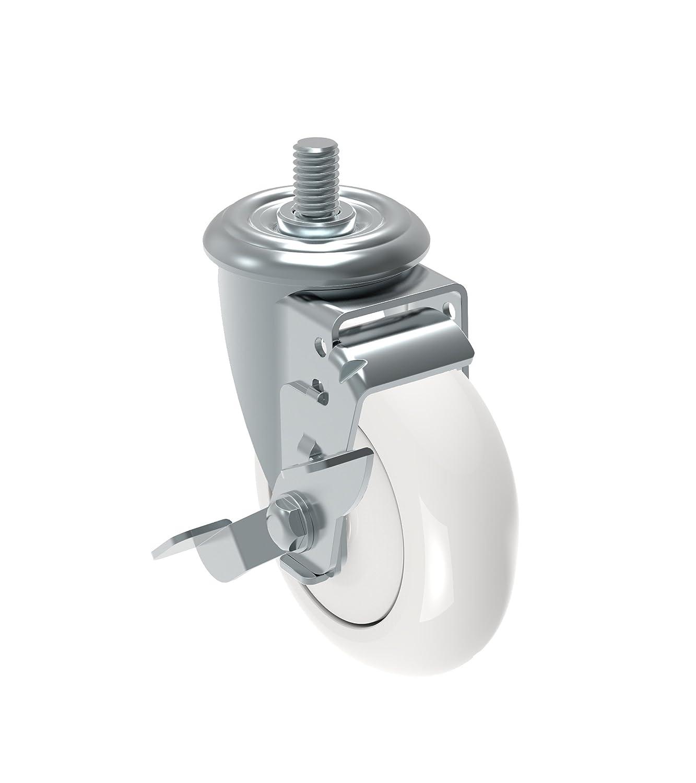 Non-Marking Nylon Precision Ball Bearing Wheel 12 mm Diameter x 25 mm Length Threaded Stem 375 lb Schioppa GLEHD 412 NTE L12 Series 4 x 1-1//4 Diameter Swivel Caster