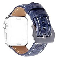 Cinturino per Apple Watch 42mm, DaGeLon Moda Raffinato Retrò Cinghia Pelle Semplice Banda di Ricambio Robusta Bracciale Sostituzione per iWatch Series 3 Series 2 Series 1 (Sport / Edition) - Blu