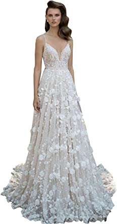 3D-Floral Appliques Wedding Dress