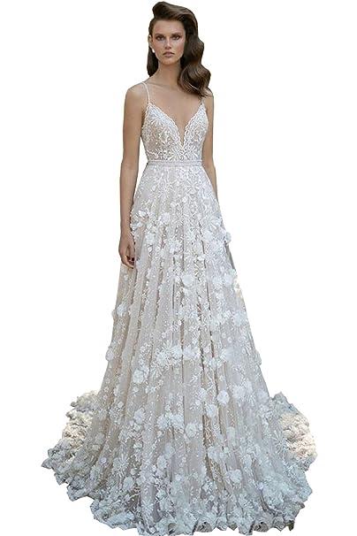 Amazon.com: newdeve largo 3d-floral appliques vestido boda ...