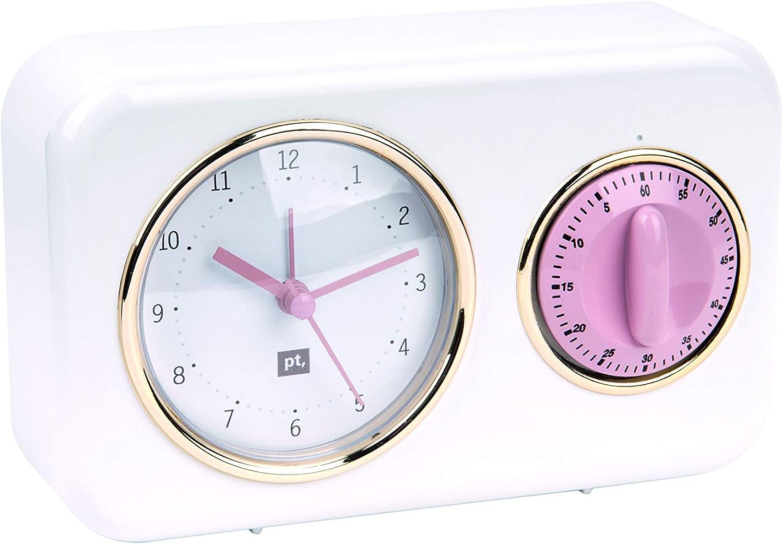Blanc Taille uniq Plastique Present Time PT2970WH Horloges de Table