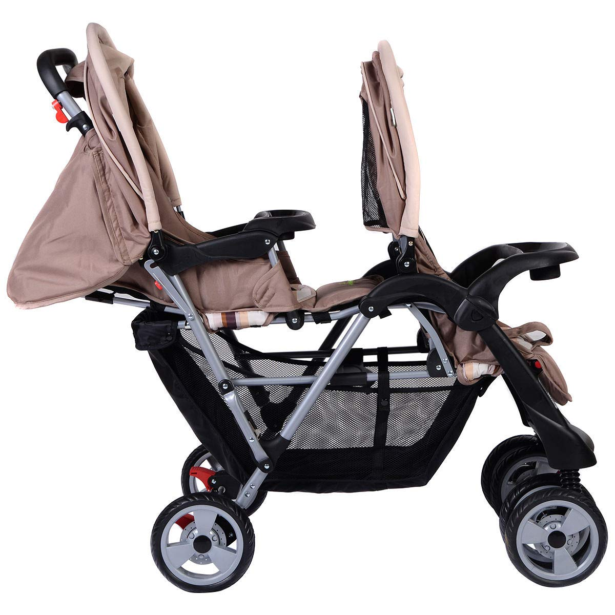 Foldable Twin Baby Double Stroller Kids Jogger Travel Infant Pushchair Gray by Apontus (Image #2)
