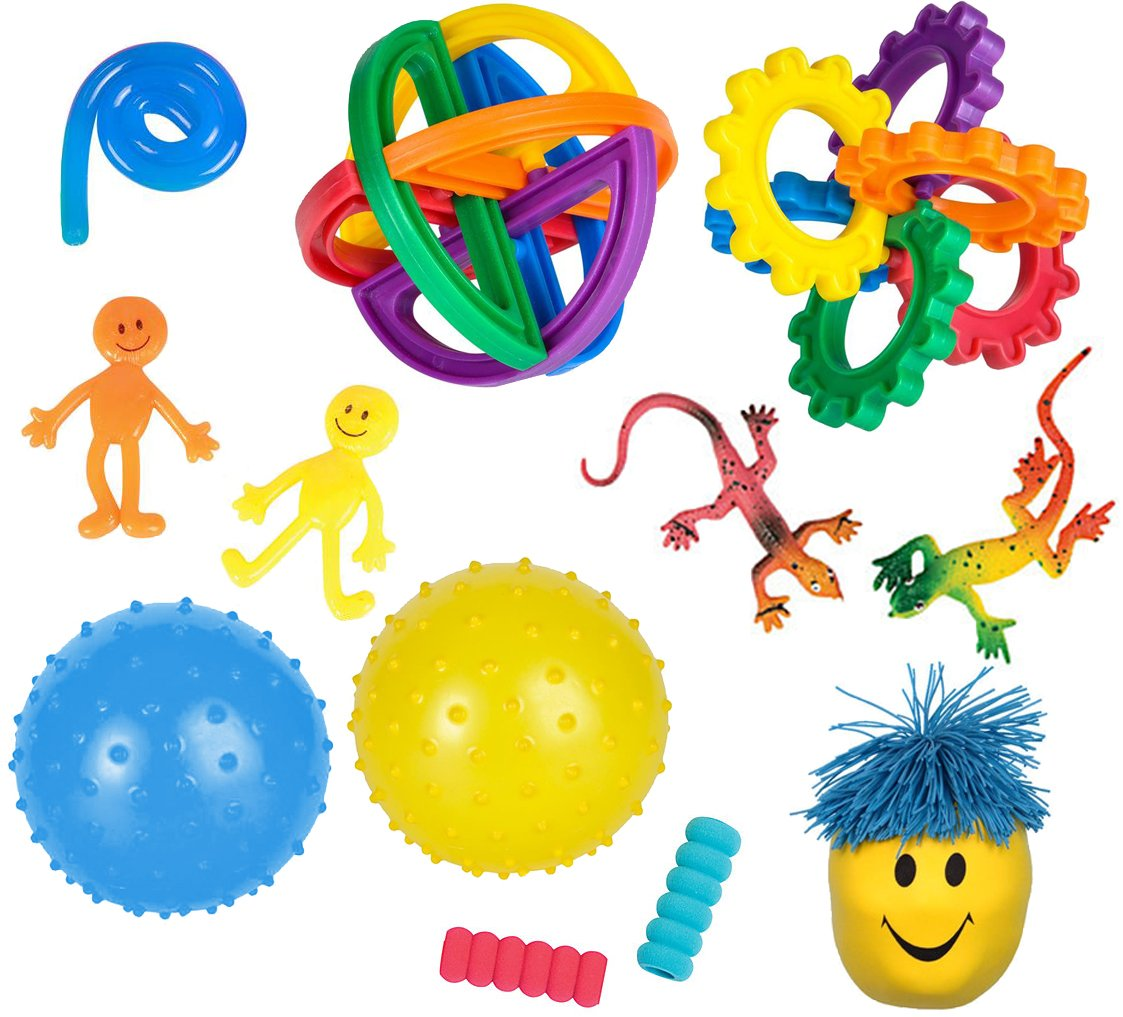 12 Sensory Processing Tools for Kids | Autistic Toys, Learning Resources, Stress Ball, ADHD Fidget Toys, Anxiety Relief, Stress Reduction | Sensory Toys by Mr. E=mc² for Boys Girls Ages 5+