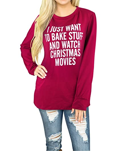 styleword womens long sleeve printed casual merry christmas t shirtwine02