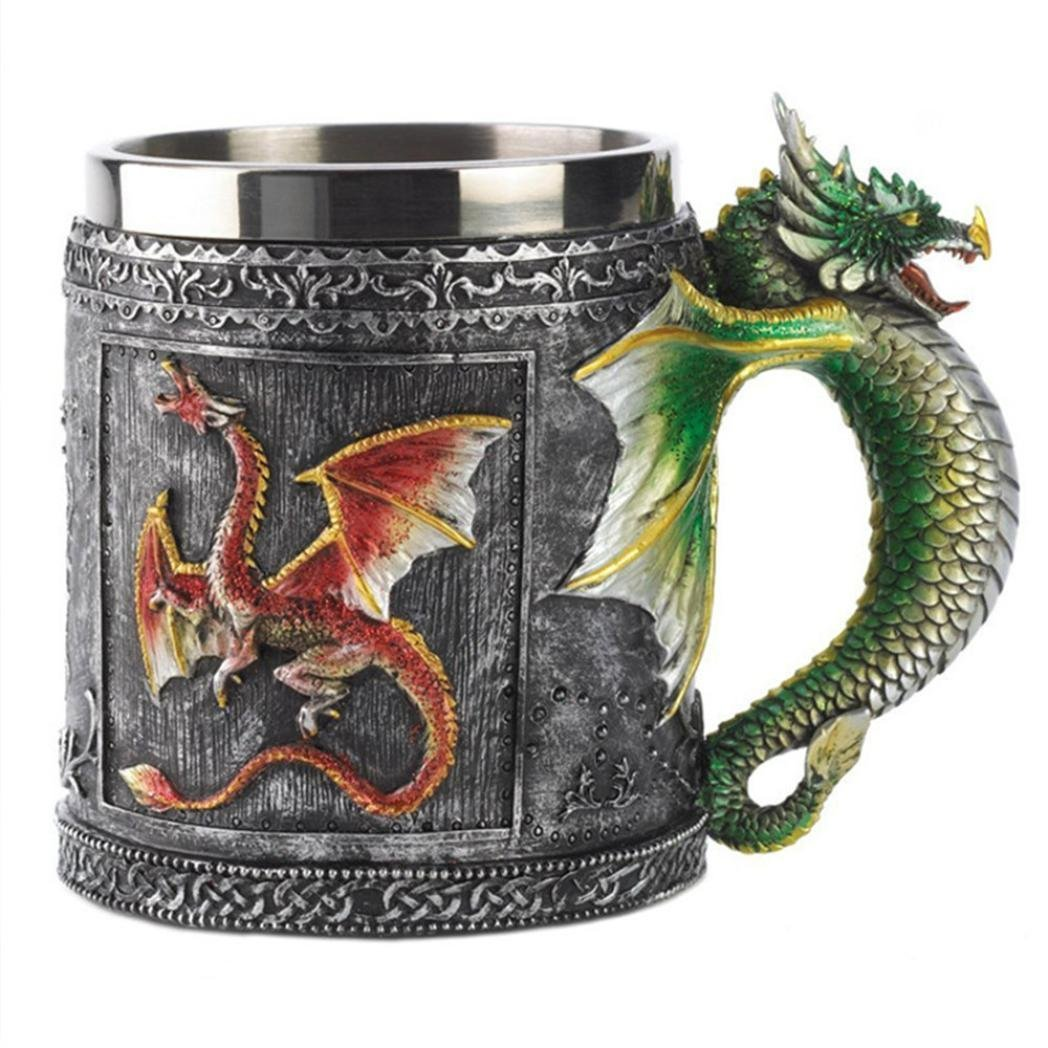 Home & Garden,Dartphew 1Pcs Dragons Gift Bronze Cup - 3D Coffee Mug Beer 450ML Cup Wall Stainless Steel Resin - Coffee Resin Mug, Resin Shell - Stainless Seel Screen(Personality - Horror)