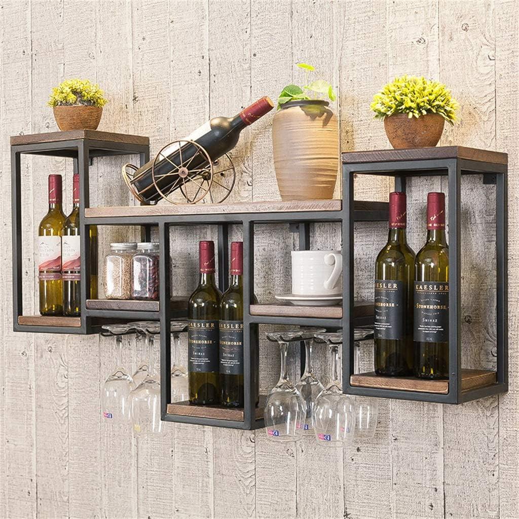 Bar//Pub Estanter/ía de Vino Estantes flotantes-Soportes de Almacenamiento de Vidrio y Botellas de Vino de Madera montados en la Pared de Estilo Retro-Marco Negro-Decoraci/ón de Pared
