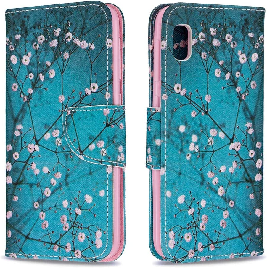 HMTECHUS Case for Samsung A10E Embossing Durable Shell Card Slots Holder Luxury PU Leather Wallet Bookstyle Magnetic Stand Shockproof Protection Flip Cover for Samsung Galaxy A10E Mandala Blue LD
