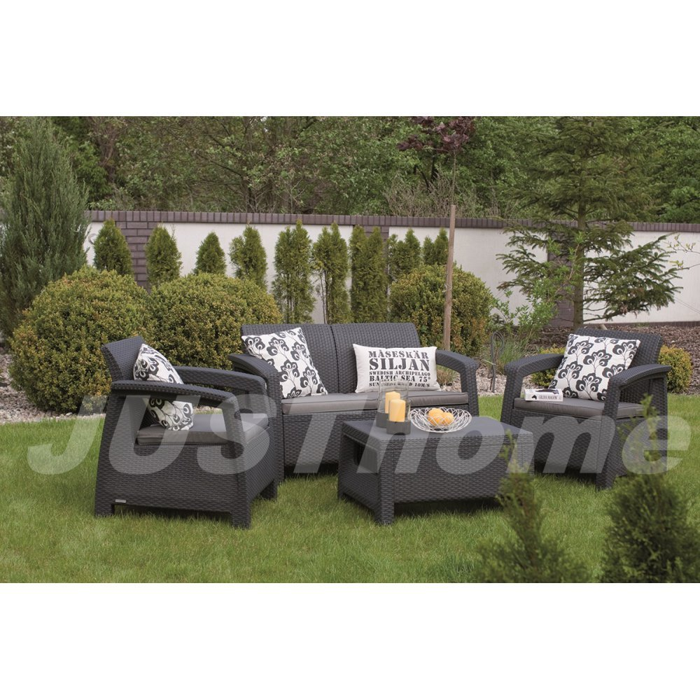 JUSThome Sitzgruppe Gartenmöbel Gartengarnitur CORFU 1x Sofa + 2x Sessel + 1x Tisch Grau