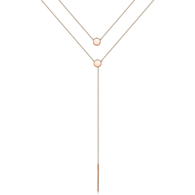 WISTIC Damen Halskette Gold Disc Bar Geschichteten Halskette Kreis Runde Choker Halskette Y Anh/änger Kette Halskette Zierliche Mehrschichtige Halskette Schmuck Geschenk f/ür Frauen M/ädchen