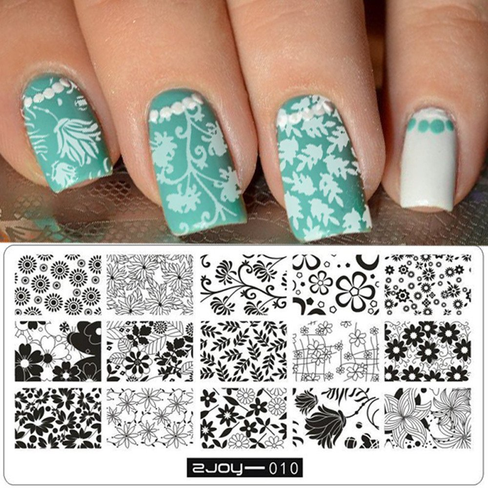 Sannysis Arte De Uñas, Sello Placas Estampado Manicura Plantilla Diseños para uñas (10) [Clase de eficiencia energética A+++] Sannysis_Belleza