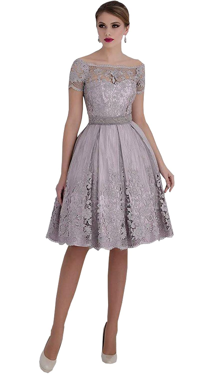 Newdeve Lace Bateau Knee Length Short Sleeves Silver-Gray Mother ...