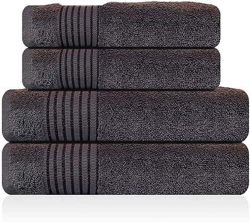 Lazzaro Home - Juego de toallas de mano de algodón egipcio, 2 toallas de mano, color gris, 650 g/m², algodón egípcio, gris oscuro, 2 Bath And 2 Hand Towels: Amazon.es: Hogar