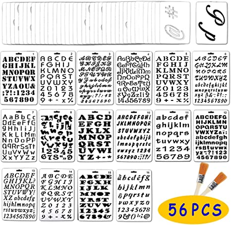 Amazon De Jekkis 56 Buchstaben Und Zahlen Schablonen Alphabet