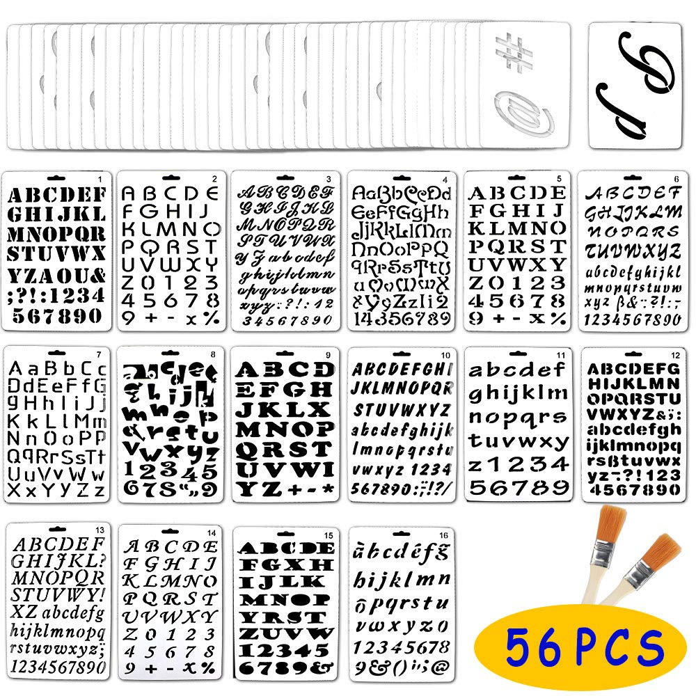 Jekkis 56 Pack Letter and Number Stencils Alphabet Templates Drawing Painting on Wood Reusable Plastic Art Craft Stencils for Journal Stencil DIY Craft Project by Jekkis