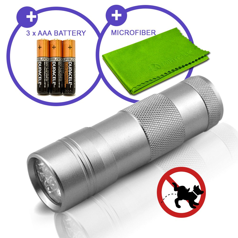 Pet Urine and Stain Detector 12 UV LED Ultraviolet Travel Size Flashlight Bla...