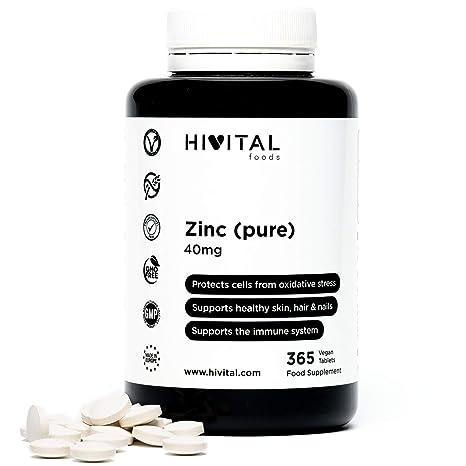 Zinc puro 40 mg procedente de Gluconato de Zinc | 365 comprimidos (Suministro anual) | Protege las células de la oxidación, mejora el sistema inmune, ...