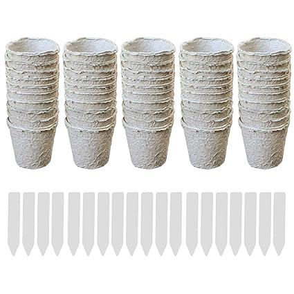 Gosear 50 unids Ronda de macetas de turba Planta de semillero Tazas de Cocina vivero Hierba