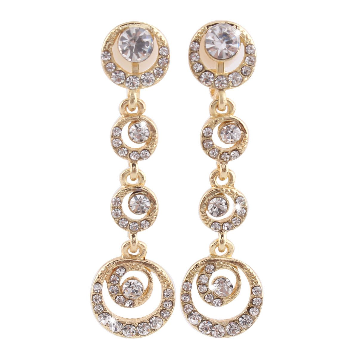 Grace Jun Luxury Bridal Alloy Rhinestone Moon Shape Clip on Earrings No Pierced for Women