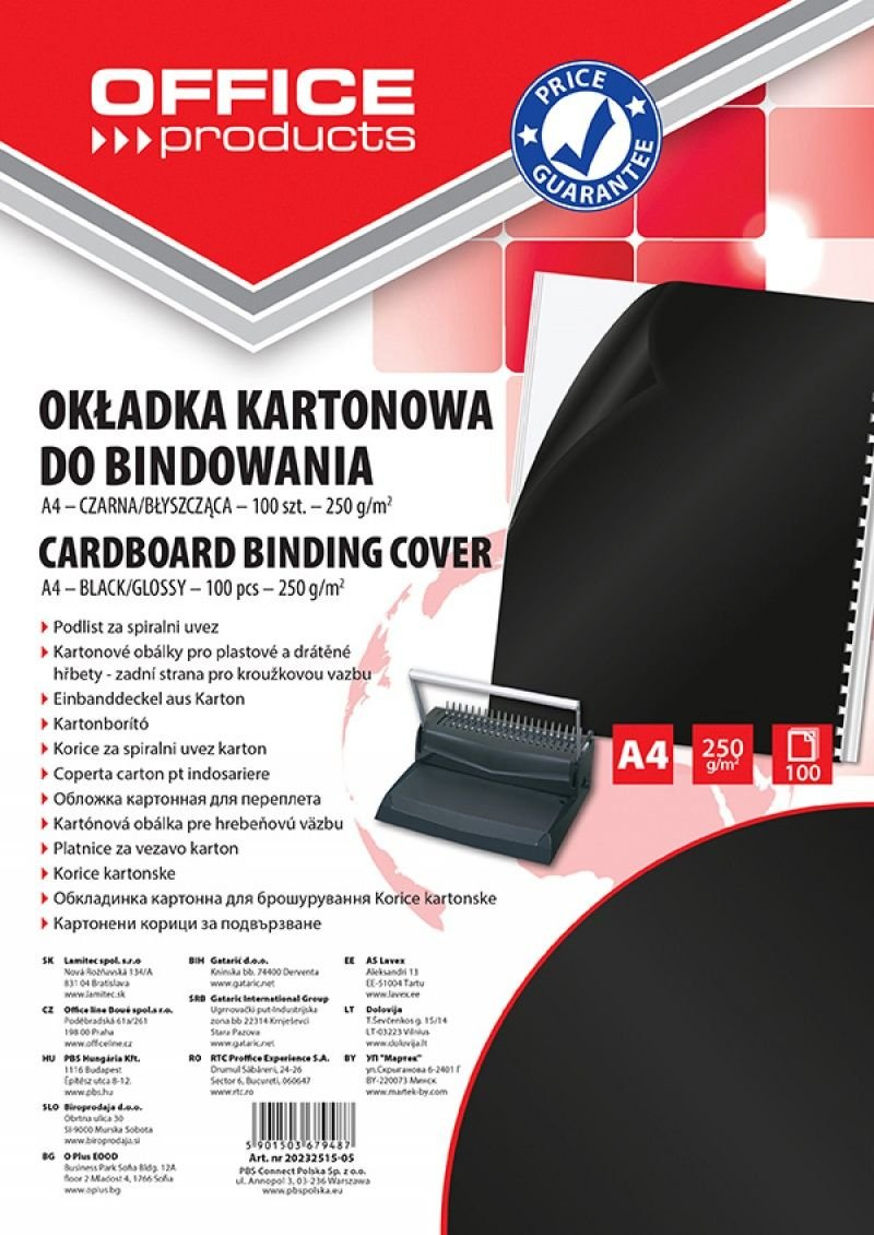 Office Products 20232515 – 05 Copertine per Rilegatura in Cartoncino, formato A4, 250 G/MQ, lucido, 100 pezzi, nero PBS Connect Polska Sp. z o.o. 20232515-05