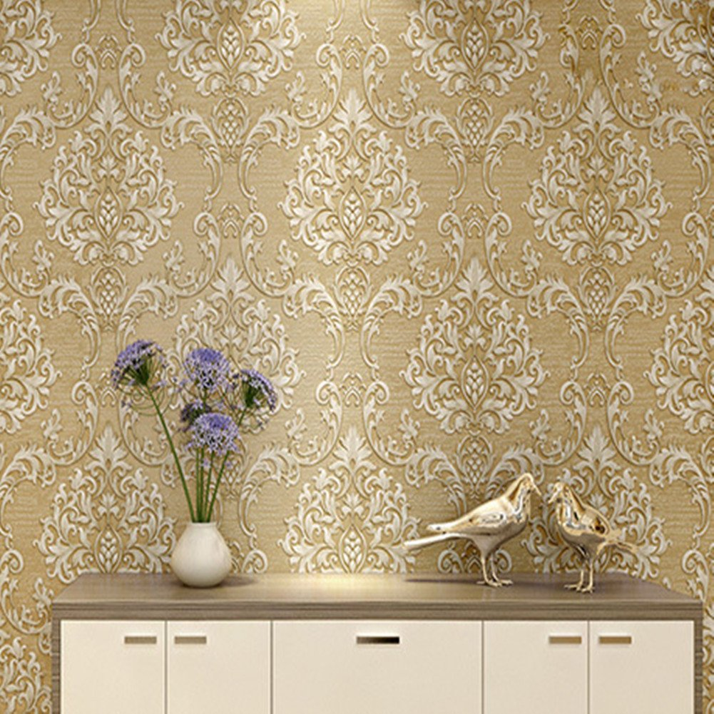 Luxury Decorative Pattern Dark Gold Wallpaper (20.5 inches Wide) by Wallpaper (Image #2)