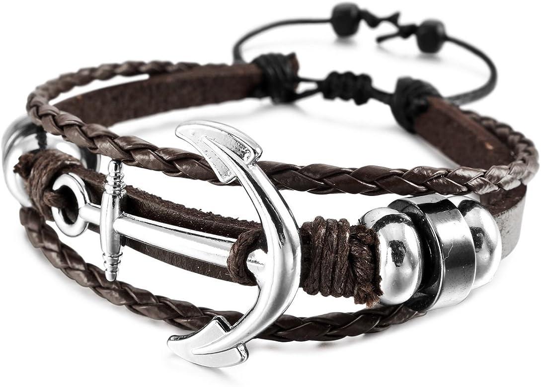 MunkiMix Aleación Genuina Cuero Pulsera Brazalete Brazalete Manguito Cable Cuerda Marrón Negro Ancla Náutico Tablista Envolver Wrap Ajustable Hombre,Mujer: Amazon.es: Joyería