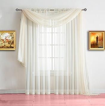 Amazon.com: Warm Home Designs Extra Long Beige Sheer Window Scarf ...