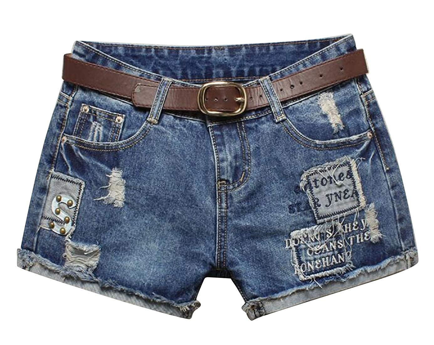 Suncolor8 Womens Summer Low Waisted Belted Ripped Distressed Denim Shorts Jeans Hot Pants
