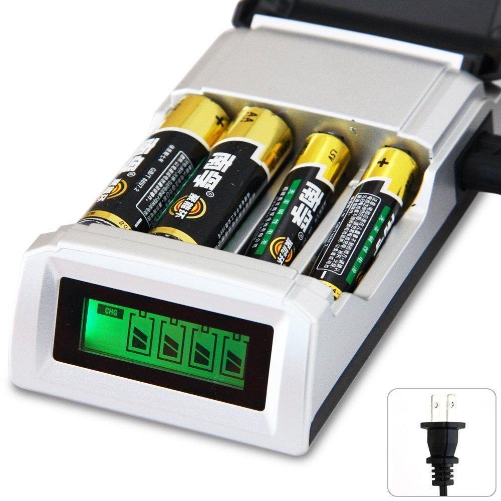 FidgetFidget LCD 4 Slot Battery Charger For AA/AAA Ni-MH/Ni-Cd Rechargeable US Plug Smart