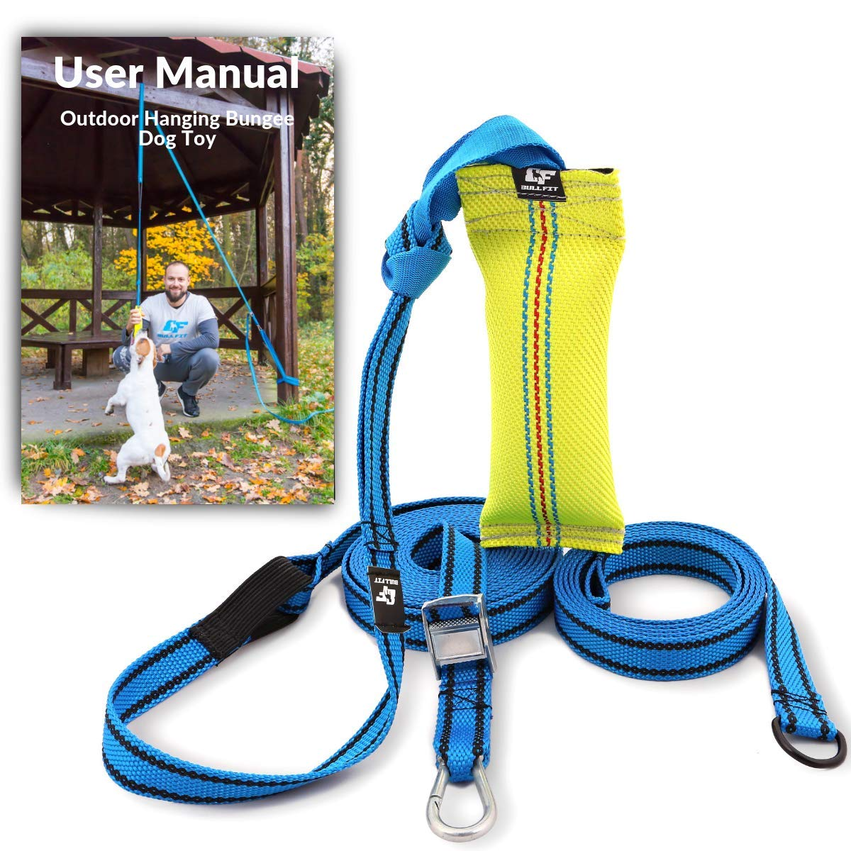 Outdoor Hanging Bungee Dog Toy - Durable Spring Pole for Pitbull & Medium to Large Dogs - Interactive Tugger for Safe & Fun Solo Play, Exercise and Tug of War - Tough Fire Hose Bite Tug Toy Included by Bull Fit