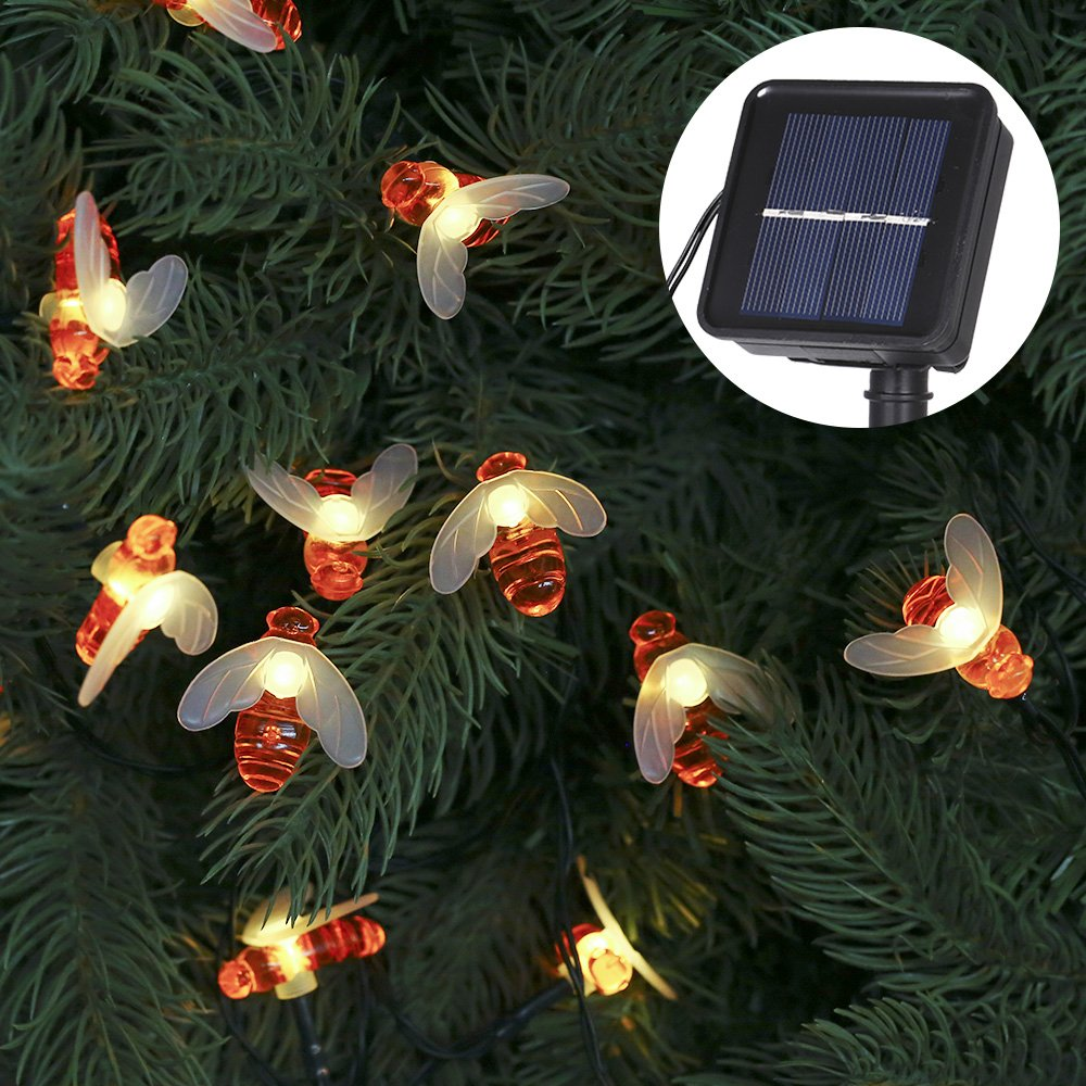 Tomshine Solar Bee String Lights 30 LED Outdoor Fairy Lights Honeybee Garden Decor 8 Modes for Patio Yard Party Wedding Christmas(Warm White)