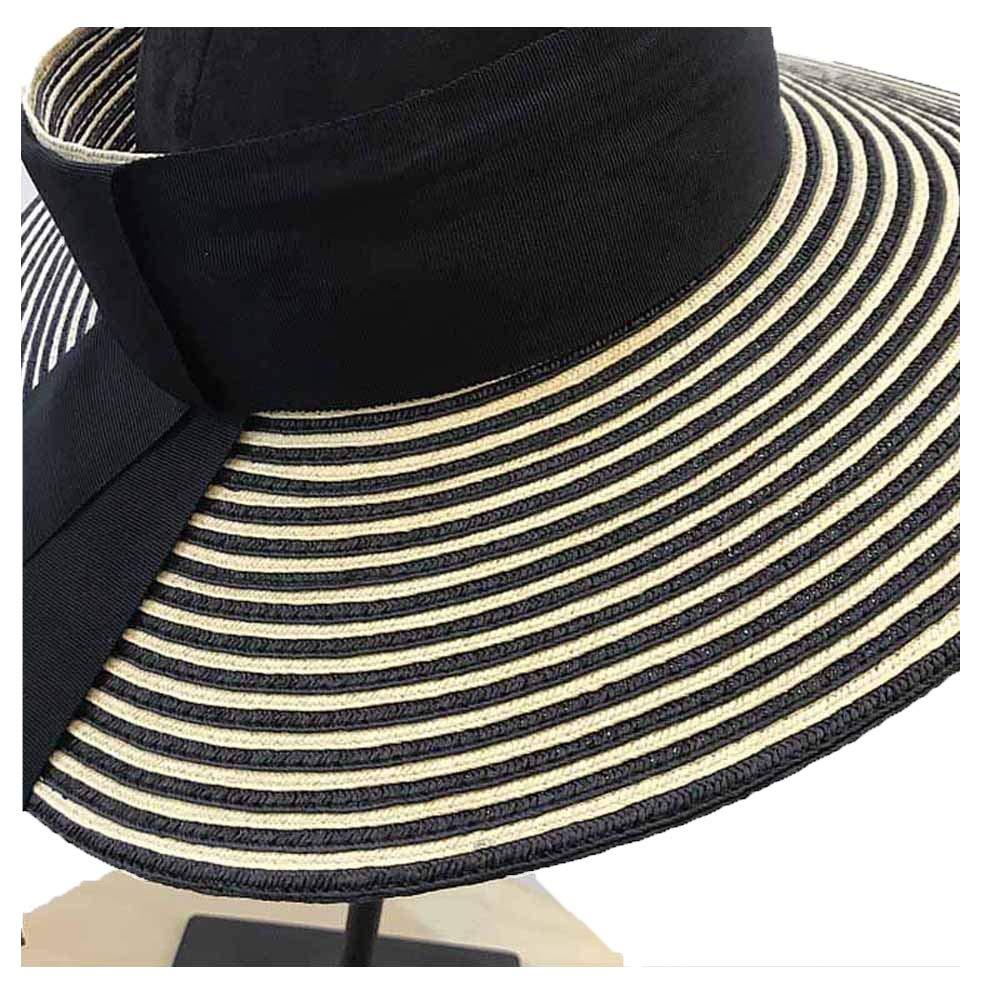 Summer Sun Hat Lafite Sun Beach Hat Color Beige Striped Wide Hat with Bow Summer Paper Straw Sun Hat Empty Top Sun Hat