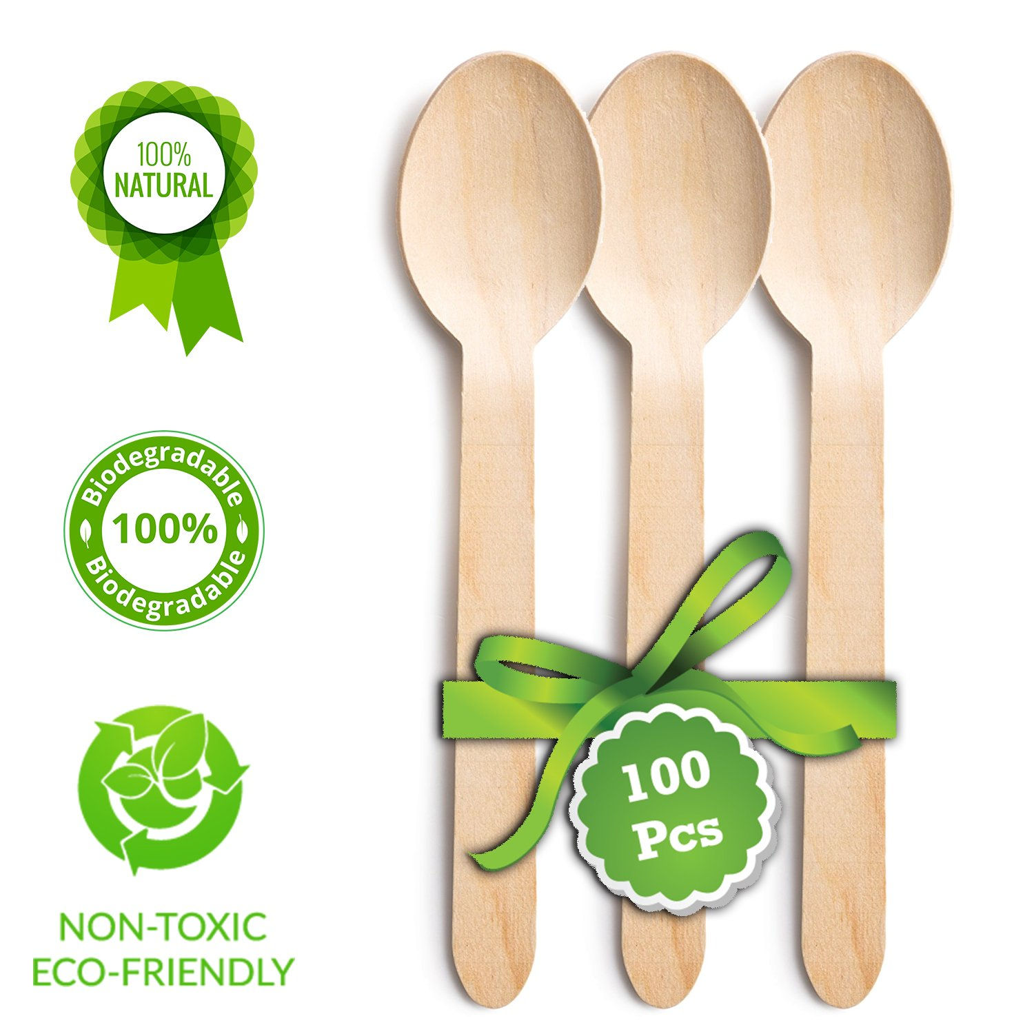 """Disposable Wooden Spoons   Pack of 100 Pcs - 6.5"""" Wooden Spoons  100% Natural Birchawood, Biodegradable, Eco-Friendly and Compostable Perfect Party Supplies, Camping BBQ  Good for Healthy  SAVE EARTH"""