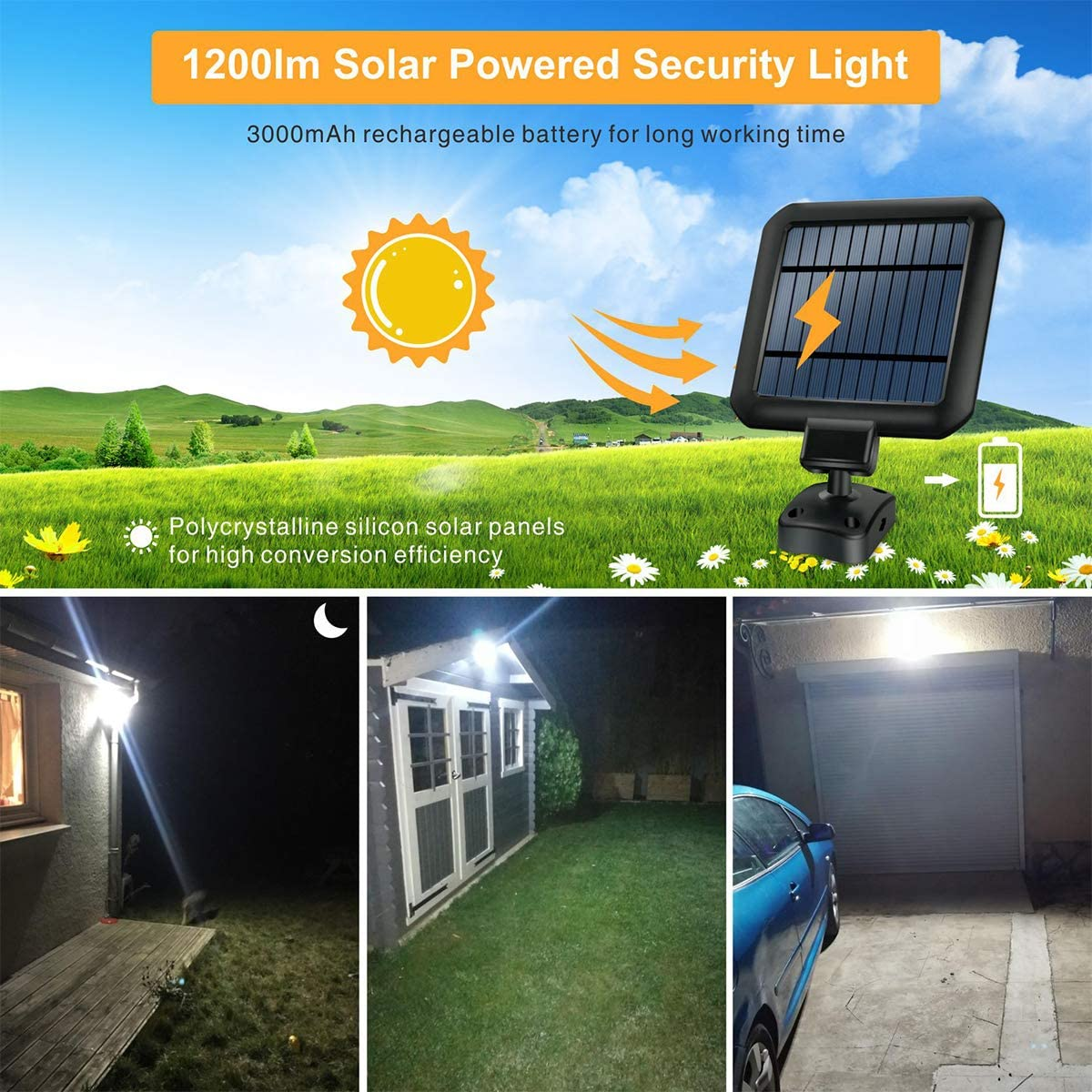 Solar Light Outdoor, STASUN 1200lm Motion Sensor Security Light with Wide Lighting Angle, 5000K, Adjustable Head, Easy-to-Install Outdoor Flood Light for Front Door, Yard, Garage