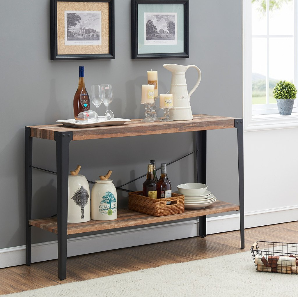 O&K Furniture Industrial Rustic 2-Tier Occasional Console Sofa Table for Living Room & Entryway, Brown Finish(1-Pcs) - Made of Thick MDF Board (not solid wood) and Sturdy Metal Legs Guarantee Stability and Durability, Ensures Many Years Working. Brown Finish High Density Board and Black Slender Tapered Legs with Rivets Decoration Blend both Rustic and Industrial. Double Layer Design Makes this Sofa Table Perfect Stage for any Storage and Display with Plenty of Available Space. - living-room-furniture, living-room, console-tables - 7115AOq0maL -
