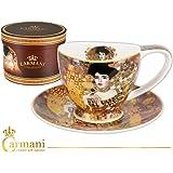 Carmani - Tazza di porcellana con piattino decorato con 'Adele' di Gustav Klimt 260ml