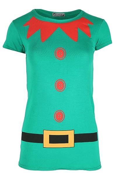 Mujer Navidad Camiseta Mujer Disfraz De Duende Navidad Manga Japonesa Vestido Jersey Top - Verde Jade