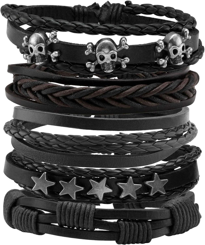 MILAKOO 5 Pcs Braided Leather Bracelets for Men Women Wooden Beaded Bracelets Wrap Adjustable…