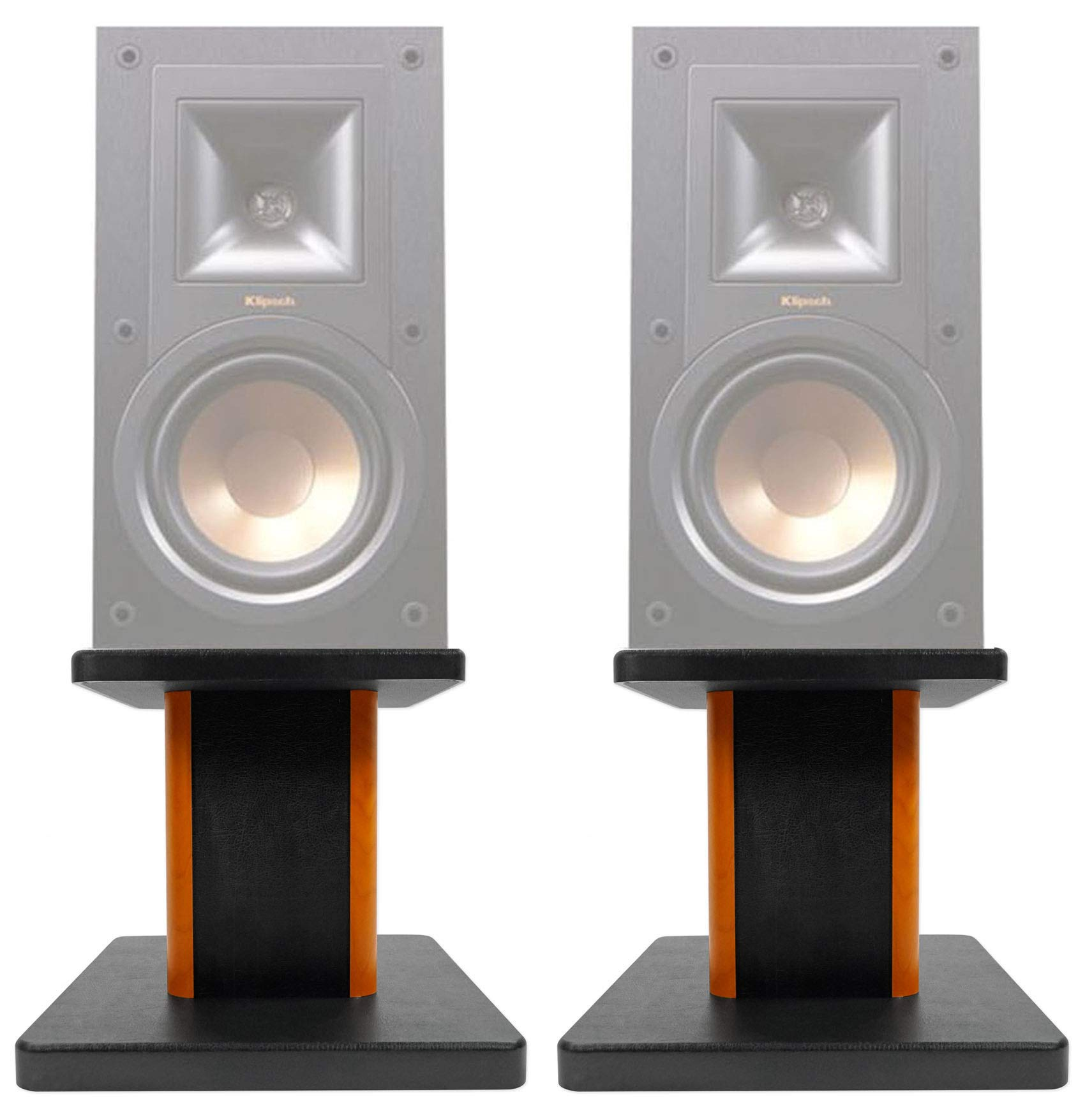 ROCKVILLE (2) 8'' Wood Bookshelf Speaker Stands for Klipsch R-15PM Bookshelf Speakers by ROCKVILLE