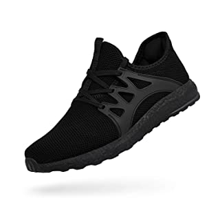 QANSI Mens Sneakers Non Slip Running Shoes Lightweight Mesh Breathable Tennis Workout Gym Shoes Outdoor Athletic Sport Shoes Boys Black 8
