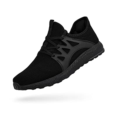 558b5ae21f46 QANSI Men s Boys Sneakers Ultra Lightweight Breathable Mesh Athletic Running  Walking Gym Shoes Black Size 4