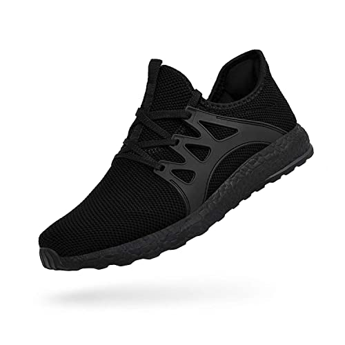 ac4720be283ec QANSI Men s Boys Sneakers Ultra Lightweight Breathable Mesh Athletic Running  Walking Gym Shoes Black Size 4