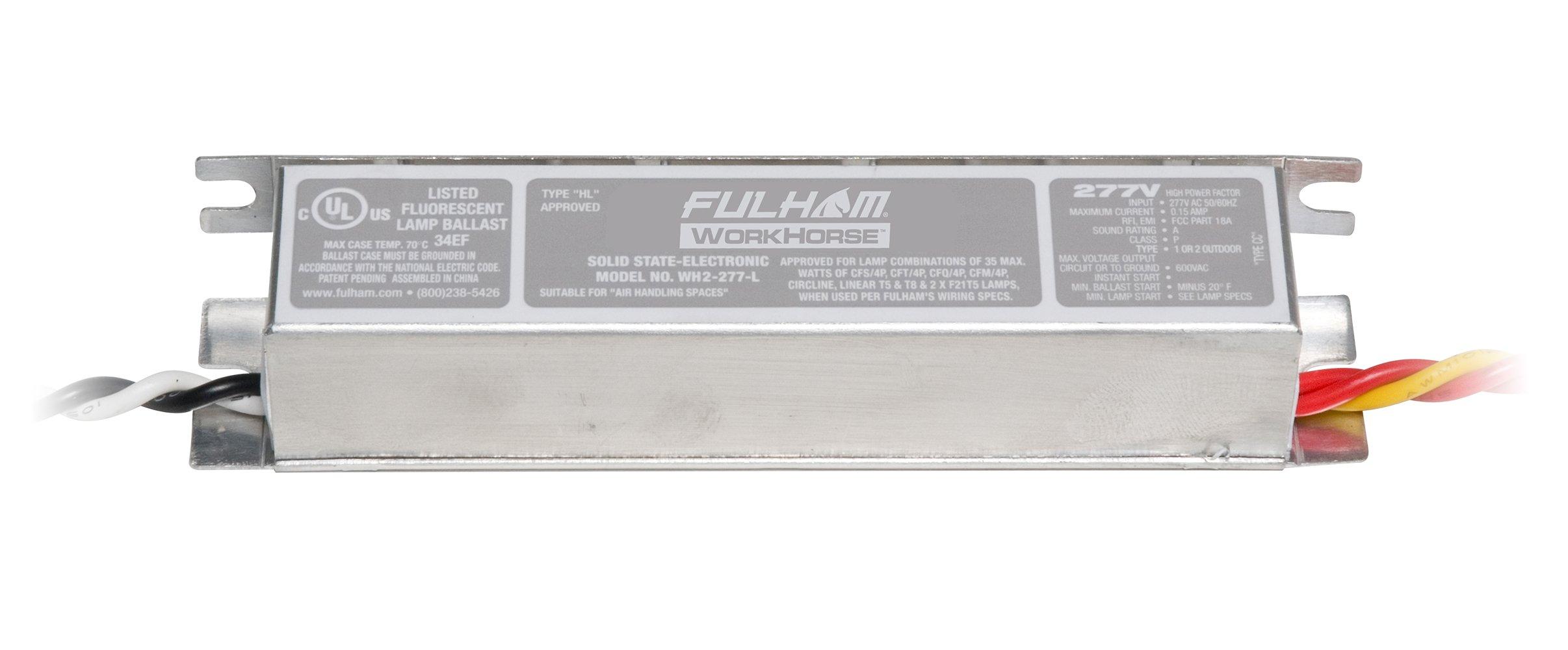Fulham WH2-277-L Racehorse2 Ballast, Cfl, 2-Lamp, T5 T8 F21T15 CFS CFT, 120/277V