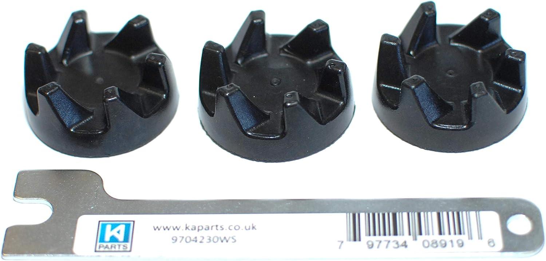 Tres acopladores de goma negra de repuesto (embrague o acoplamiento AKA) para una licuadora Kitchenaid KSB5 / KSB52 con una herramienta de llave KAParts para ayudar con la extracción de su antiguo aco